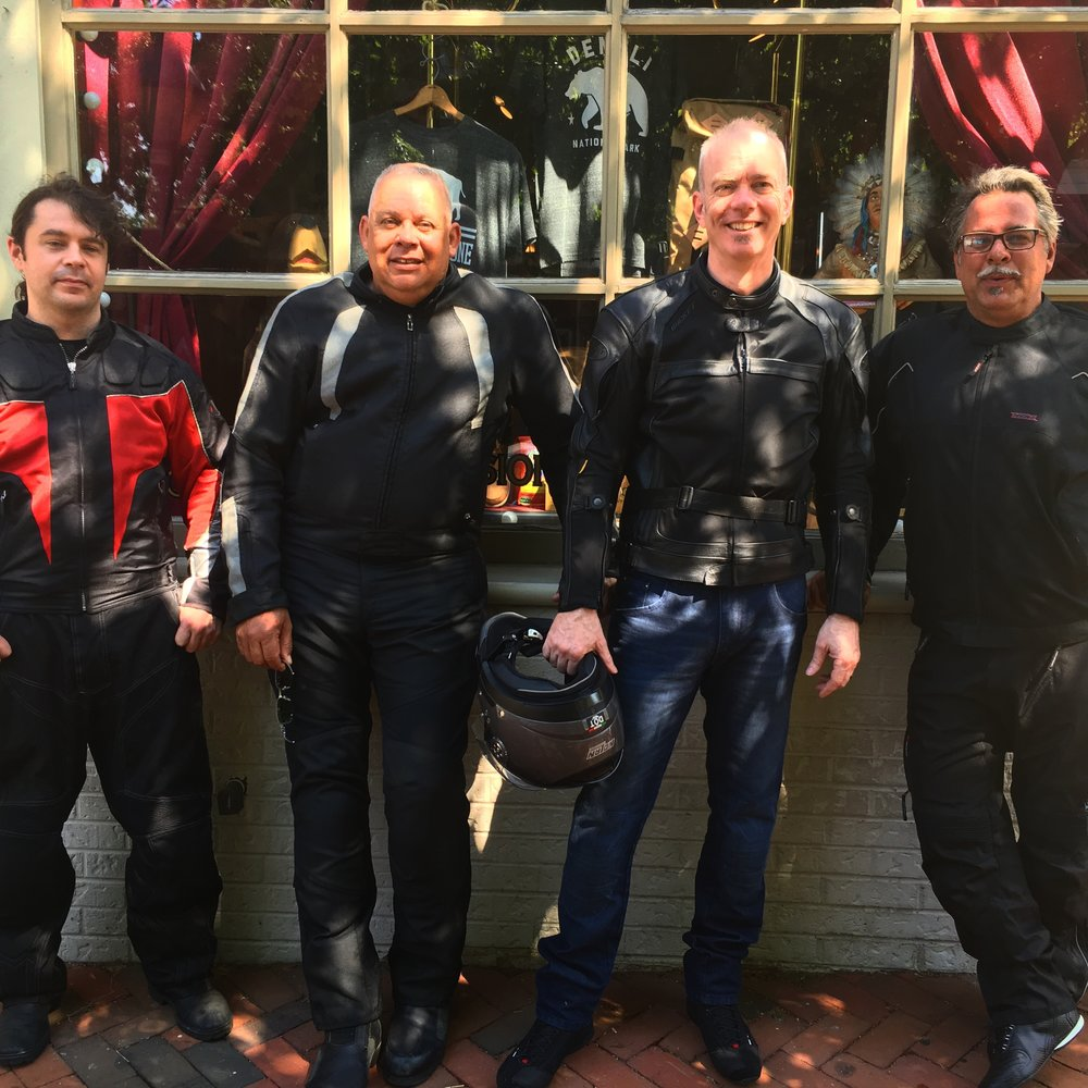 Four out of the five gentlemen riders in this photo. Our friend Mark would join us later further down the road.