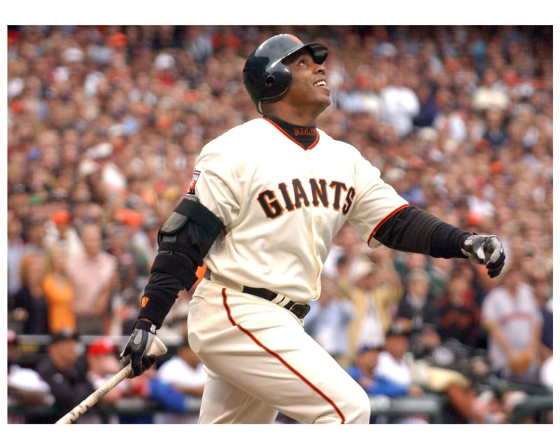 Slugger Barry Bonds connects for a home run at the Ballpark in San Francisco.