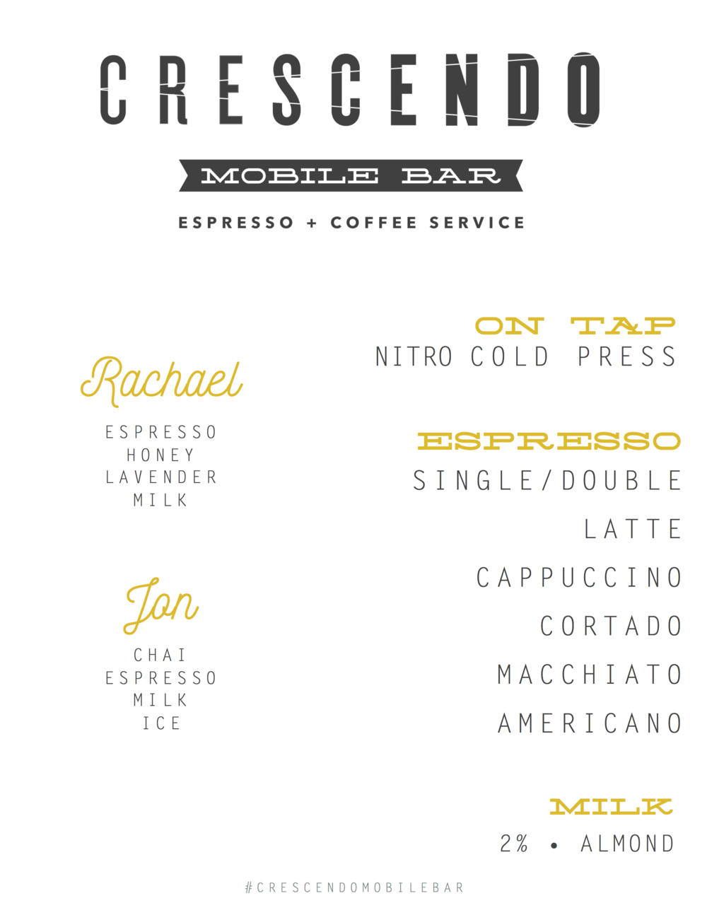 Crescendo Mobile Bar Menu