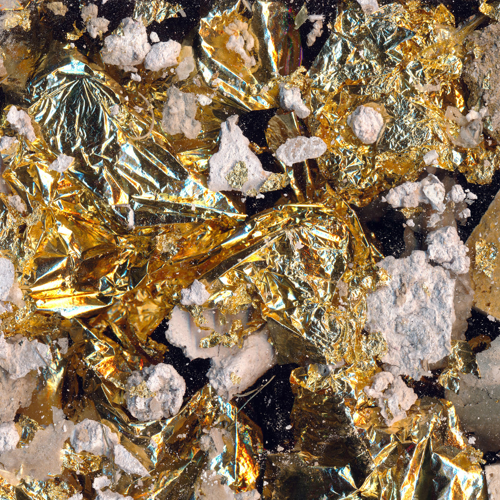 Gold Ore / Ultraviolet print on cotton backed metallic wallcovering.