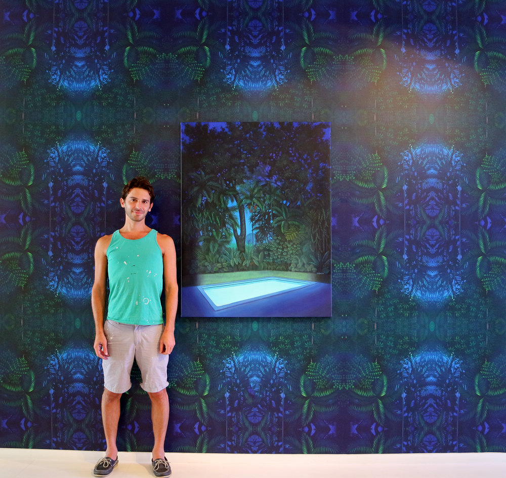 "Eric Beare photographed in Miami, Fl   Wallcovering: Tropical Emissions (Available in minimums of 100 square feet)  Acrylic on canvas: Nocturnal Emissions 36"" x 48"" x 2"""