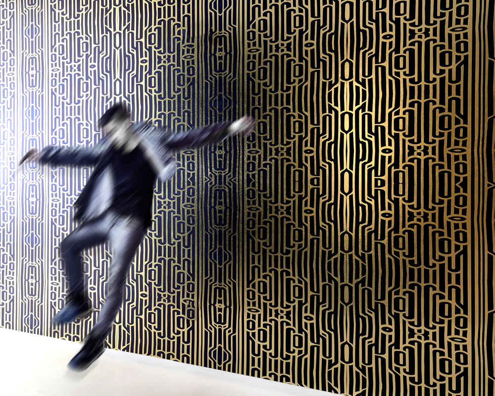 Flëkz Wallcovering: Ritmo (Rhythm)  Ultraviolet print on textured gold metallic. (Available in minimums of 100 square feet)