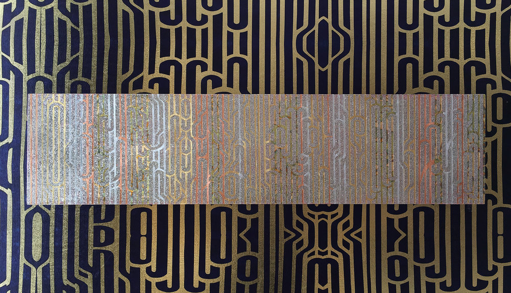 "Flëkz  Ritmo (Rhythm) with Londubh Studio LA / 12"" x 48"" x 2"" / Tape, wood, gold, silver, bronze leaf, glitter.  Wallcovering: Ritmo available in 100 sq ft minimums."