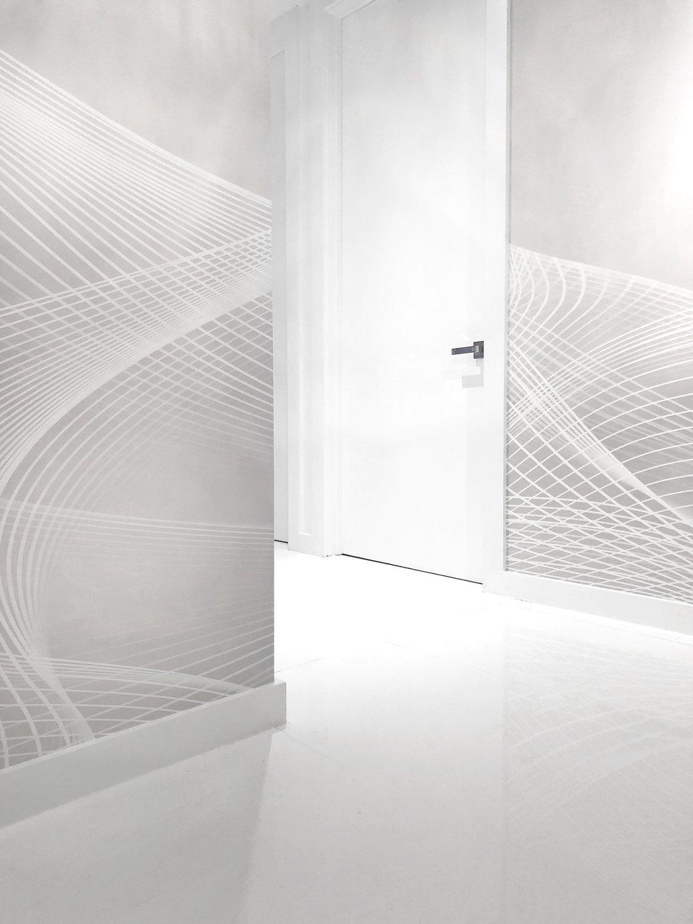{l w l} In Guggenheim grey, linen textured Type II wallcovering