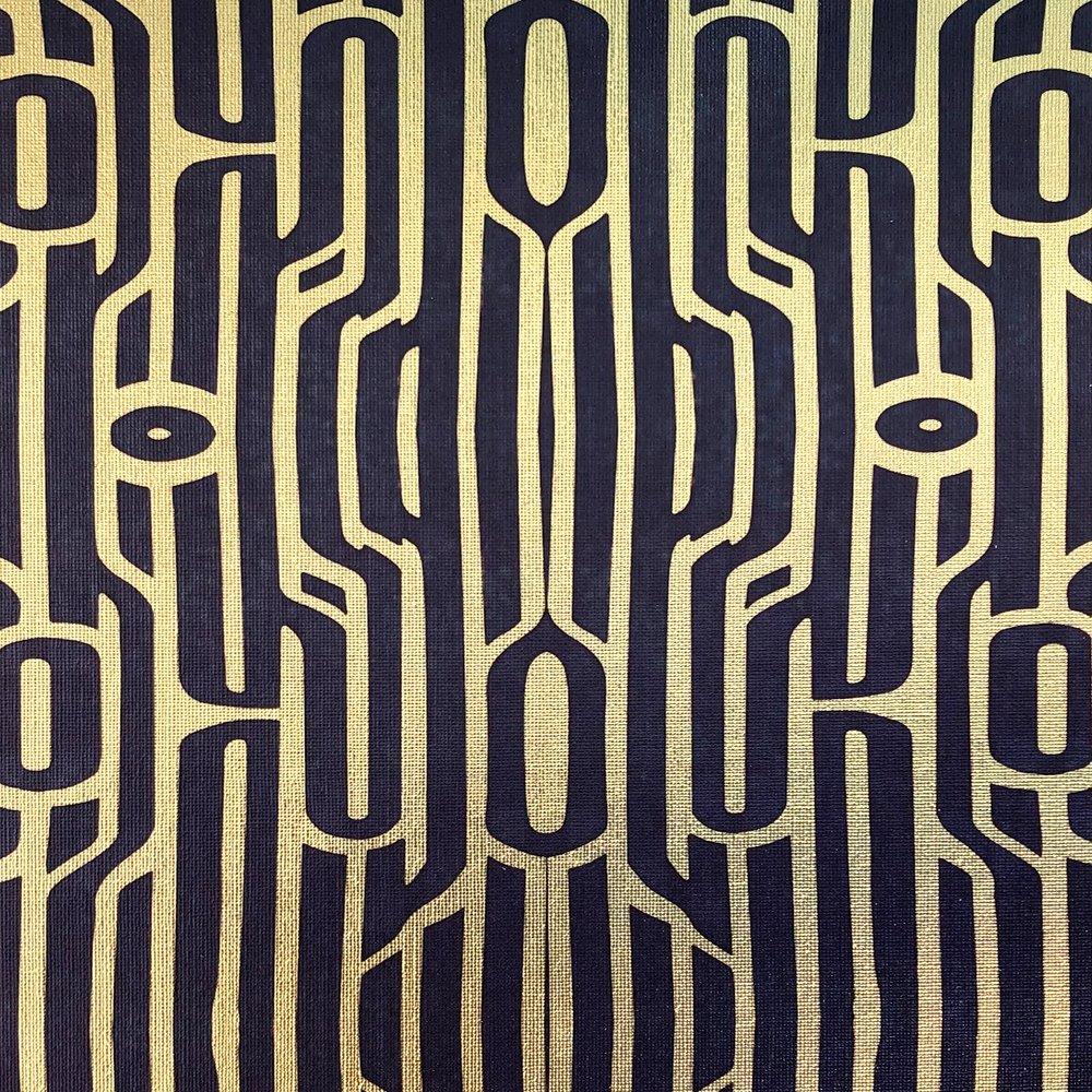 Ritmo Slate blue on textured gold metallic wallpaper