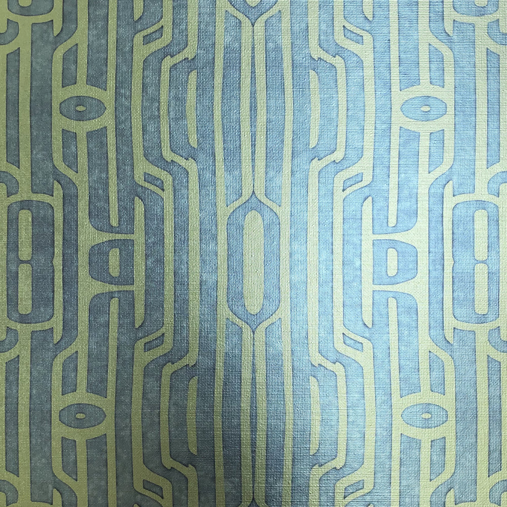 Ritmo Canary and Cool Grey on textured gold metallic wallpaper