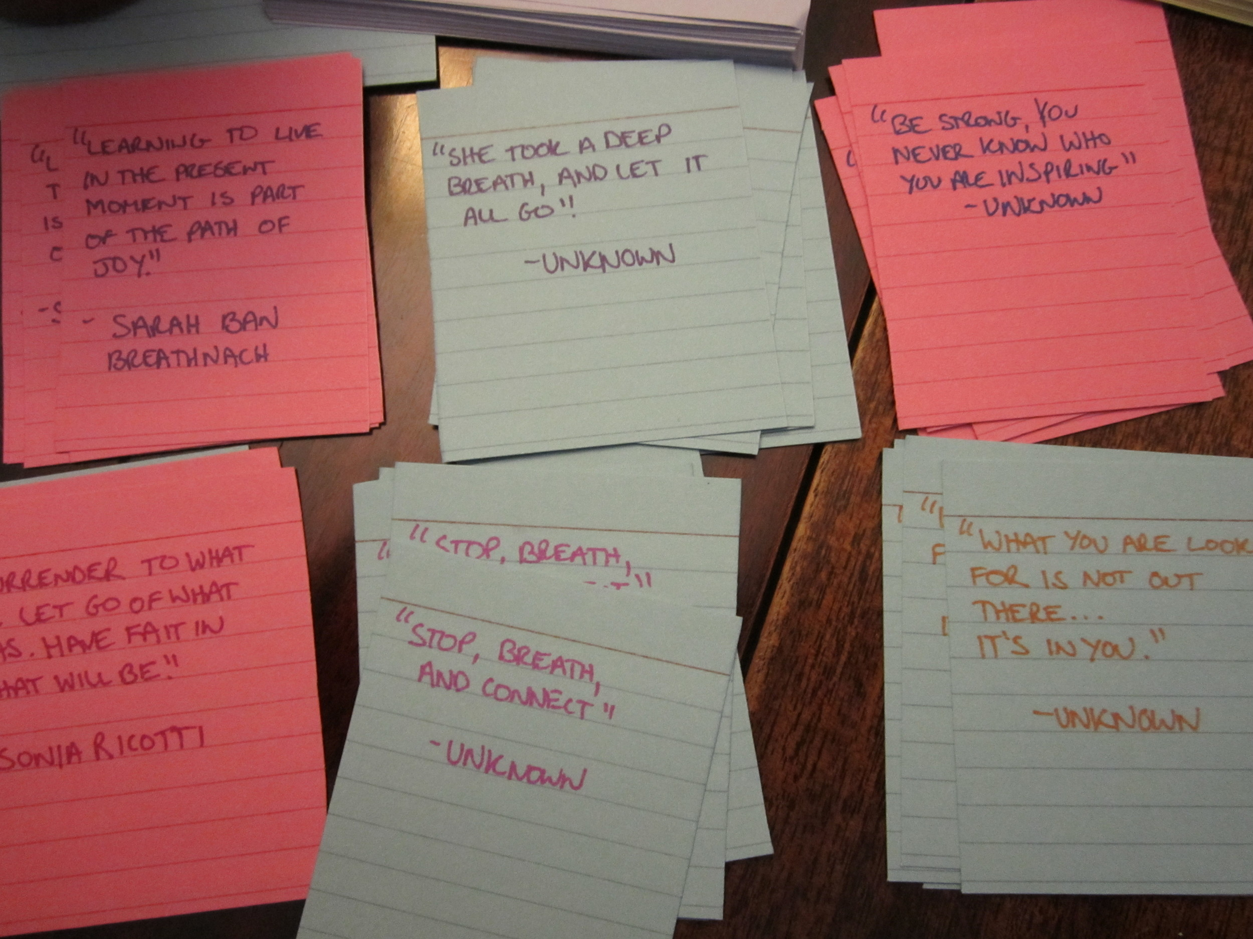 Hand written quotes to go with Tea and  class schedule.