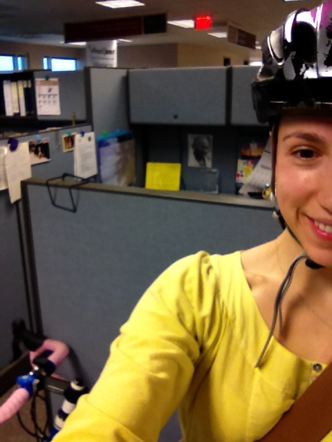 I did it! I biked into work.  That's my cube and bike in the background!!