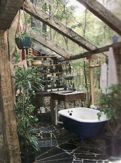 How cool?  Atrium like bathroom?