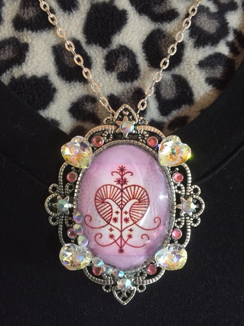 Pendant Necklace for Ezili Freda the Lwa of Abundance, Love, and Prosperity