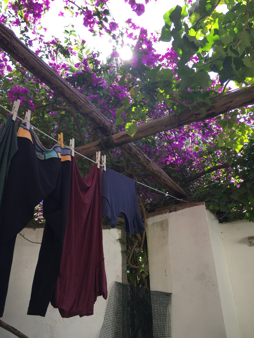 Laundry Drying on the porch in Capri, Italy