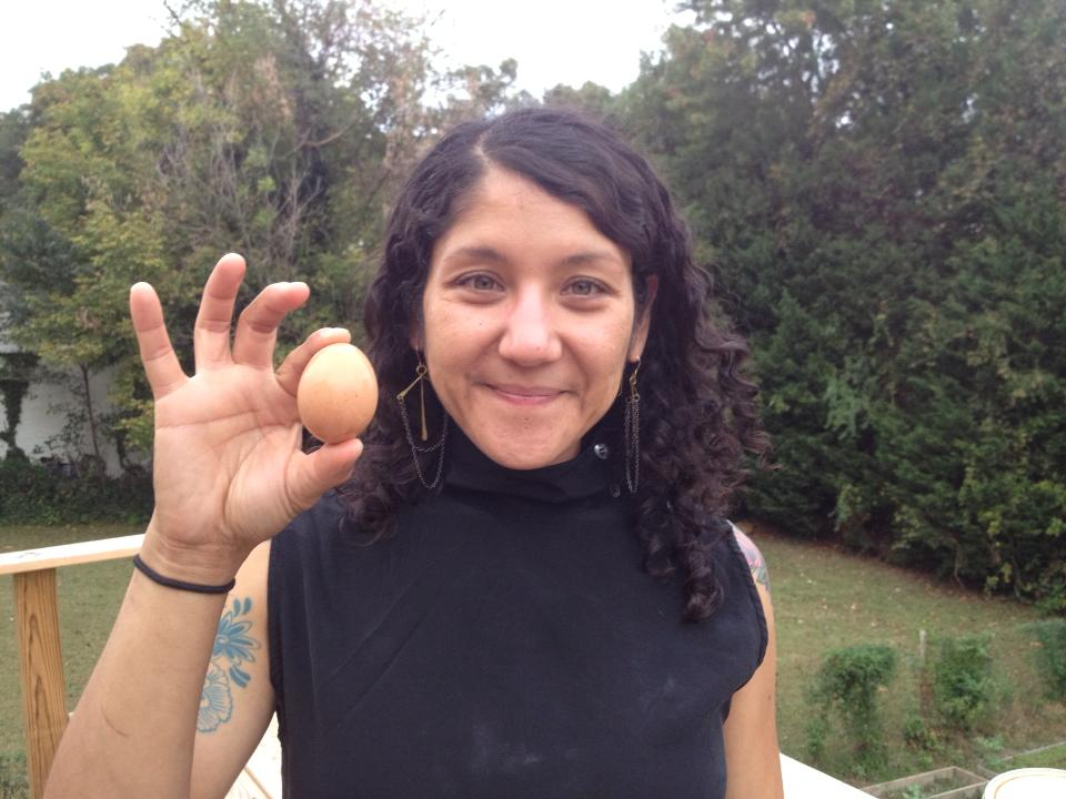 Melissa Poillot-Micca with Chicken's Egg