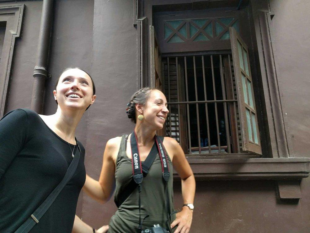 Ann and Alisha at Gandhi's house
