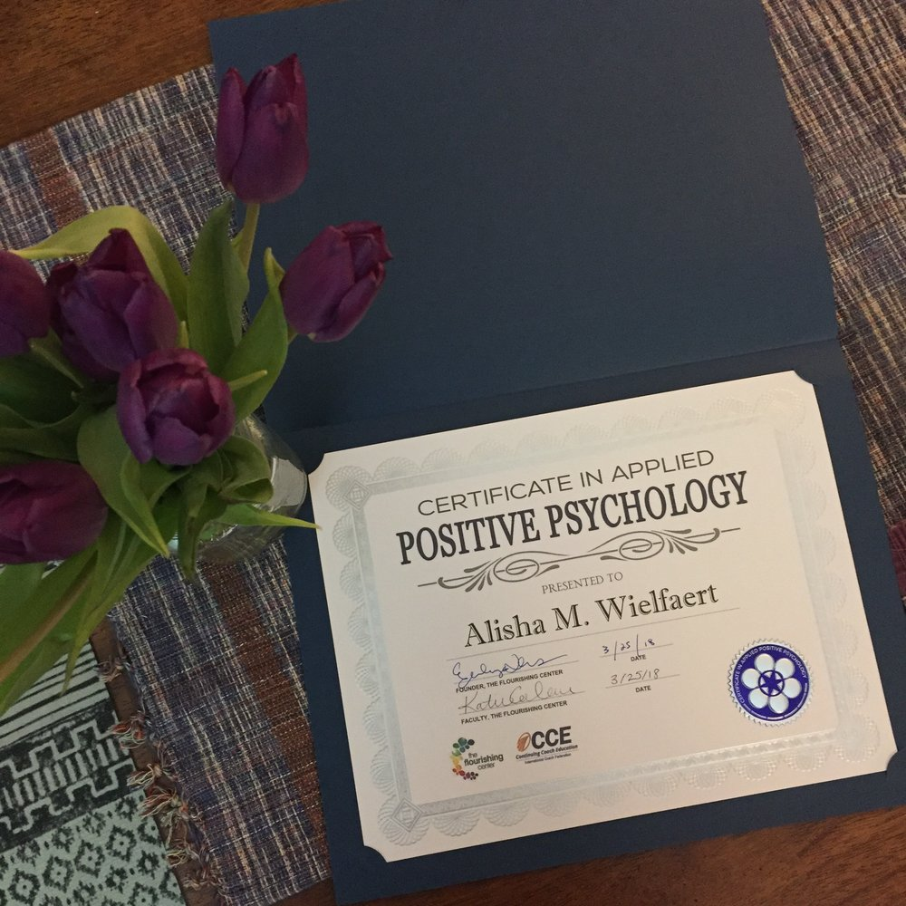 Alisha's Certification in Applied Positive Psychology