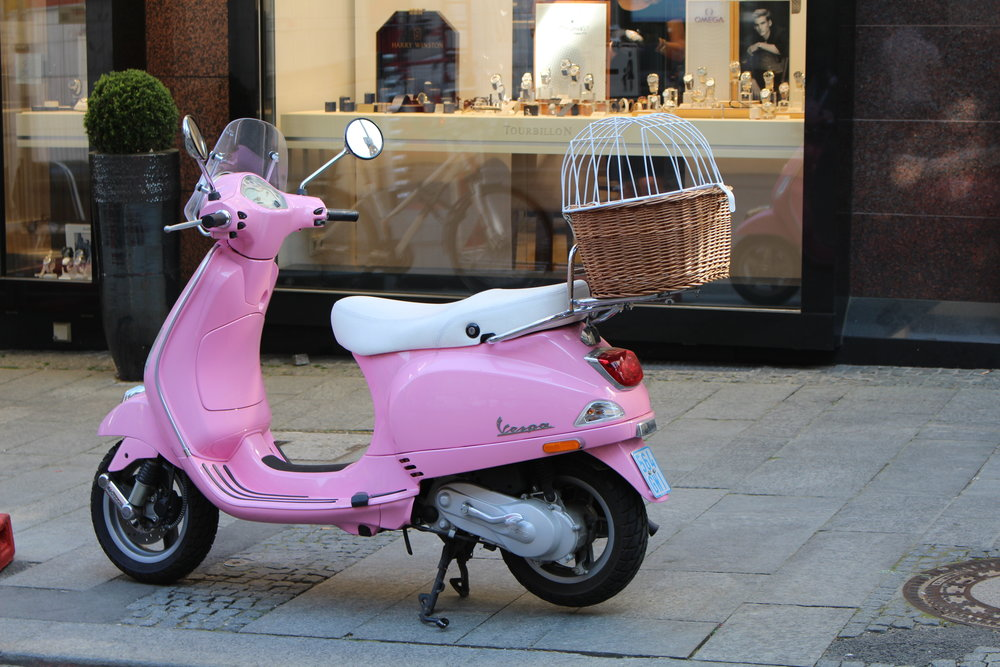 Pink Vespa in Baden-Baden, Germany