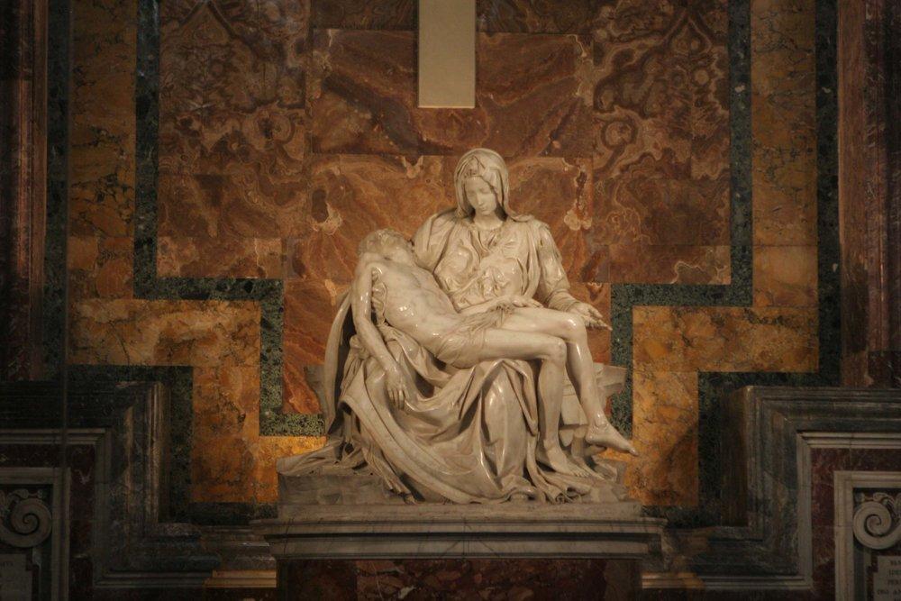 Michelangelo, Pietà, in St. Peter's Basilica, Vatican, 1498.