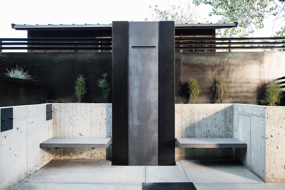 EARL GRAY II CONCRETE BENCHES WITH THE DIGNIFIED WATER FEATURE