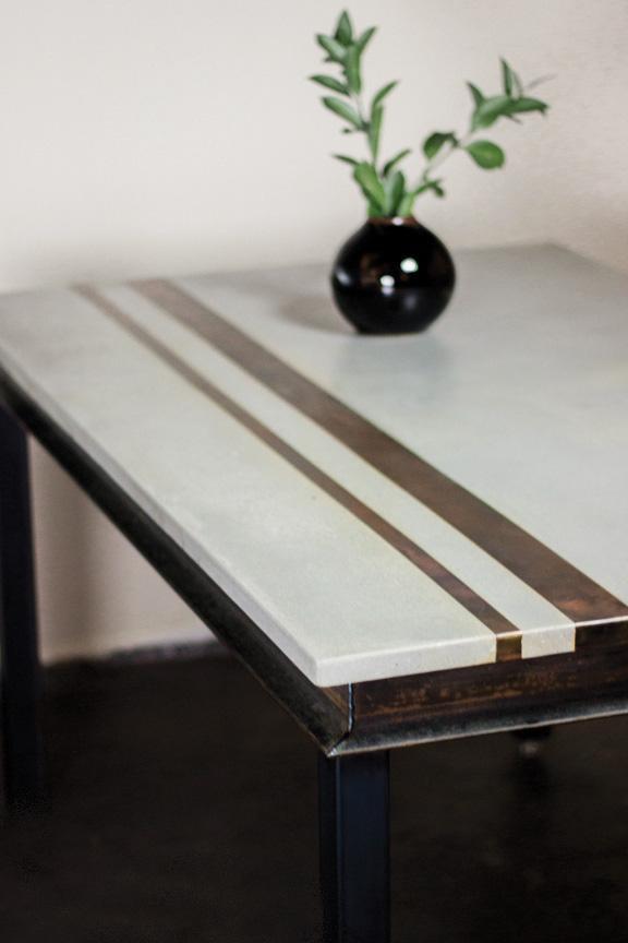 Modern Concrete & Metal Dining Table