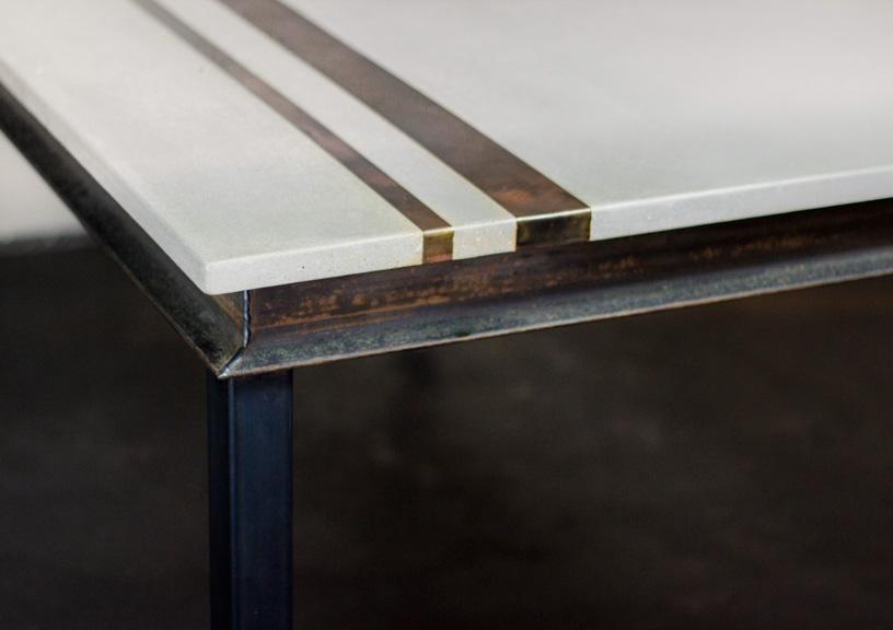 Modern Concrete & Metal Dining Table Detail