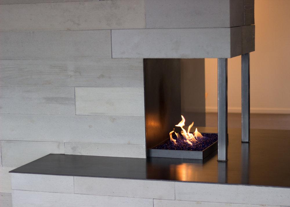 OrganiCrete® Concrete Panel Fireplace Detail