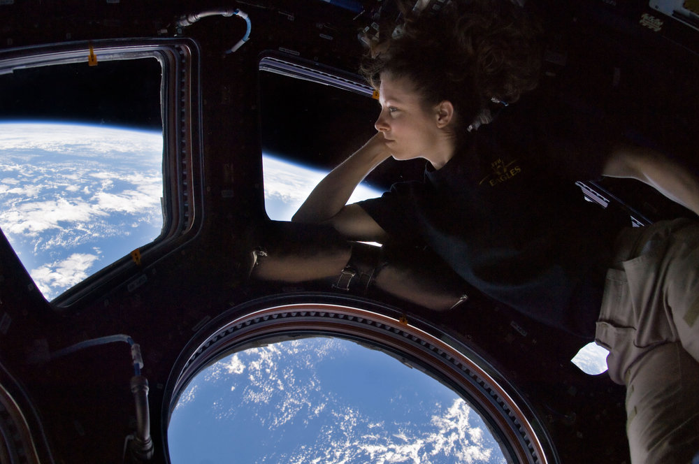 NASA astronaut Tracey Caldwell Dyson on the International Space Station viewing area called the Cupola