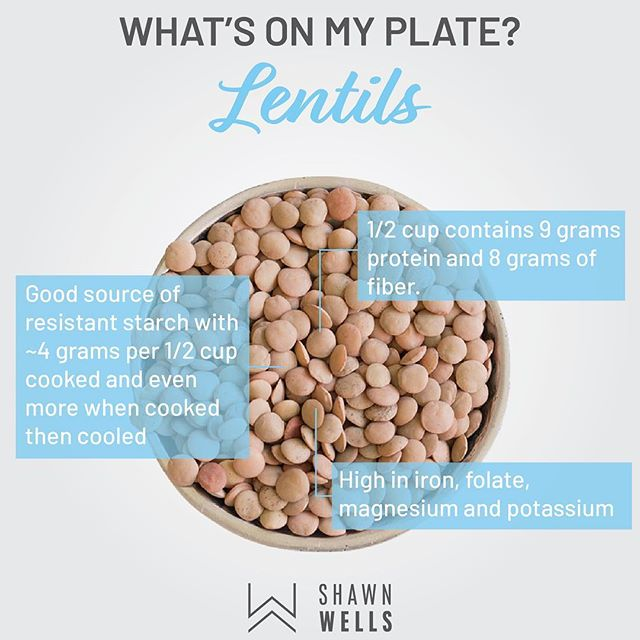 "At times wen I'm consuming carbohydrates, I make sure I seek out foods that are good sources of resistant starch, such as lentils. As the name implies, resistant starch is ""resistant"" to digestion. In that sense, it doesn't affect blood sugar or insulin levels, and it's treated as a fiber. In fact, it acts as ""prebiotic"" fiber that is fermented by healthy gut bacteria. Resistant starch has been shown to promote a wide variety of health benefits, including improved insulin sensitivity, lower blood sugar levels, and improving the makeup of the gut microbiota (i.e., more healthy gut bacteria)."
