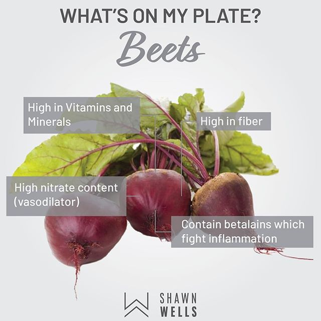This week I've added beets as a side for dinner. Beets are primarily known for their micronutrient density and well as their ability to increase blood flow. Thus, beet root is often included in many pre-workout formulas.