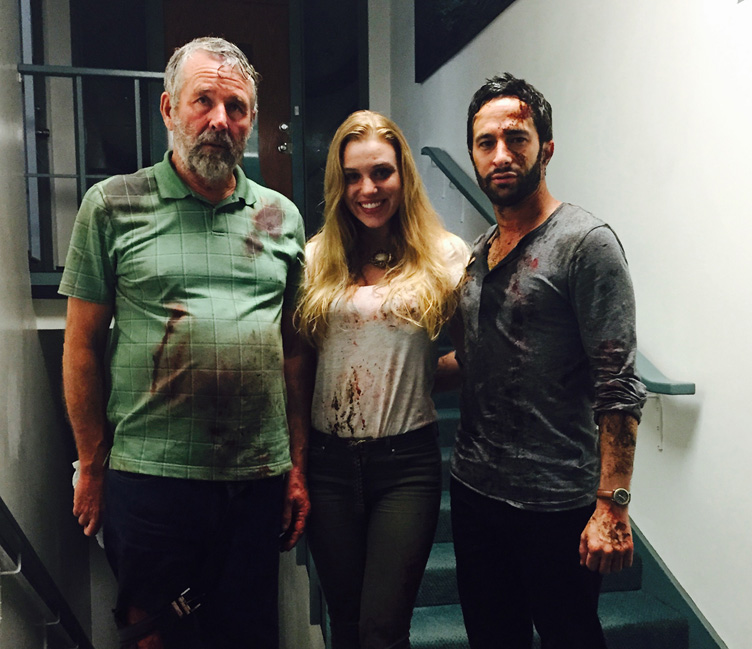 Aaron Wolf joins co-stars Timothy Bottoms and Emily Peachey on the set of TAR