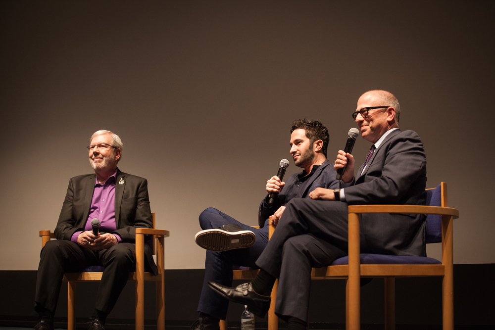 Leonard Maltin on stage with Aaron Wolf & Rabbi Steve Leder