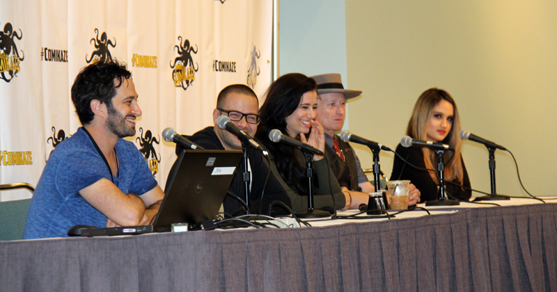 The TAR cast (Aaron Wolf, Stu Stone, Nicole Shipley, Max Perlich and Cinta Laura) during the LACC panel.