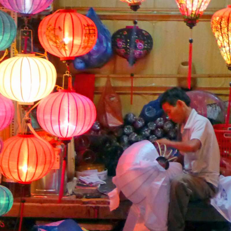 Hoi An silk lamp maker.