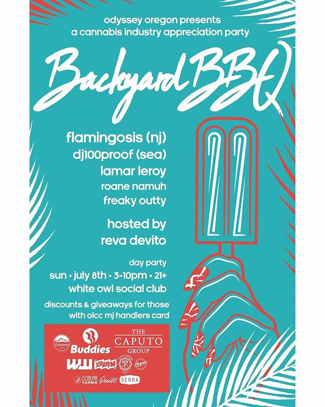 The uber-talented @revadevito & our very good friends at @odysseyoregon are throwing a killer party today at White Owl in Portland 3-10 pm! Be there or be 🔲 #revadevito #odyssey #backyard #bbq #cannabiscommunity #cannabisculture #summer #mindful #mindfulpdx #pdx #craft #cannabis #organic