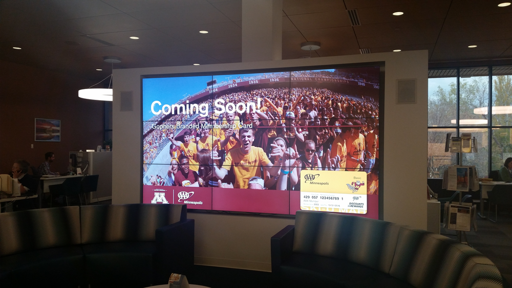 Nine (9) Screen Video Wall | University of Minnesota Gophers Branded Membership Cards