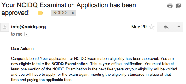 NCIDQ Application Accepted