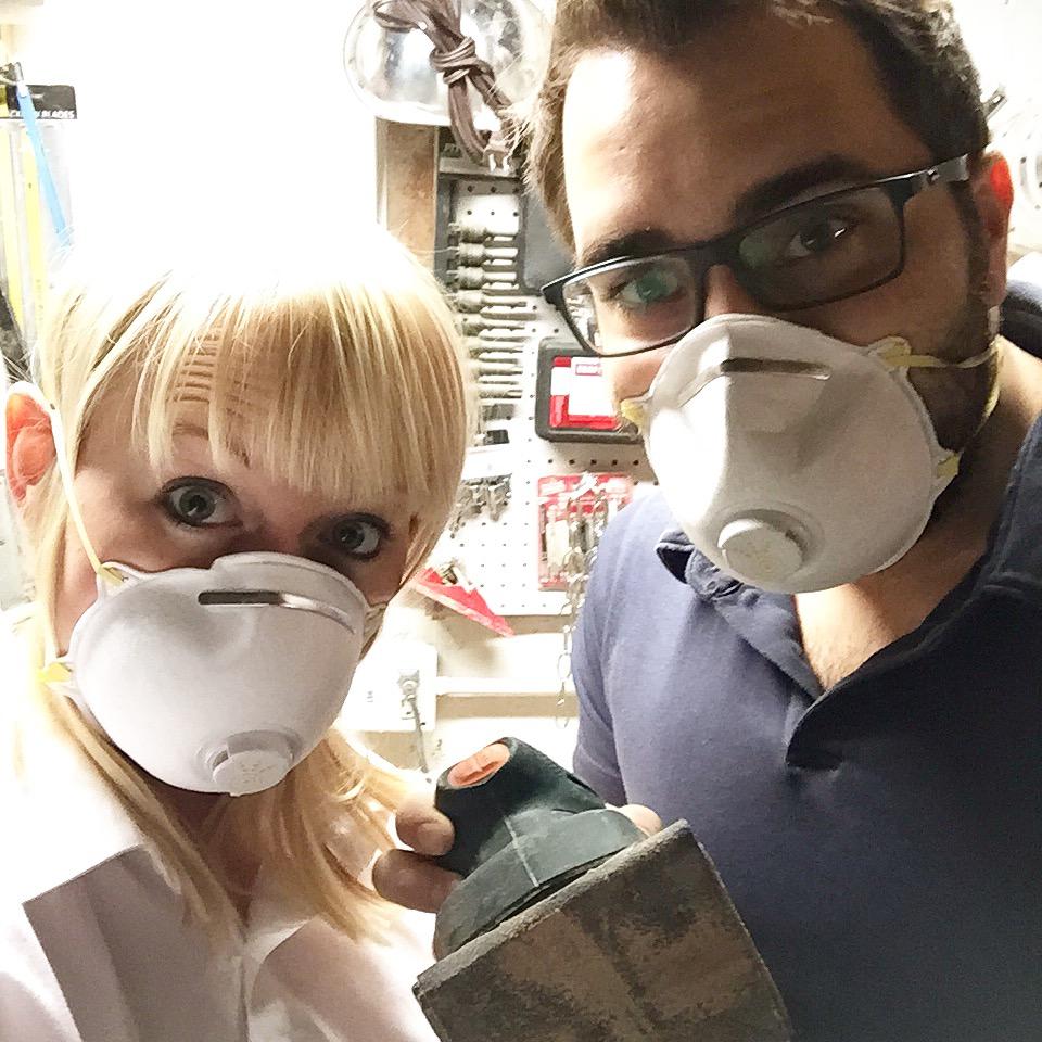 Always wear masks when sanding