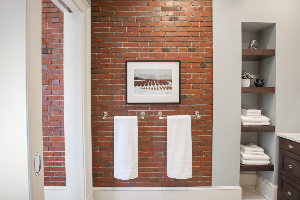 Heritage Hill Home, Grand Rapids, Michigan, Interior Designer, Fuchsia Design, Fuschia Design, Autumn Fuchs, Interior Design, West Michigan, Autocad, bathroom design, master bedroom, historic home, Woodways, exposed brick, bathroom, master bath, maple cabinetry, blue bathroom