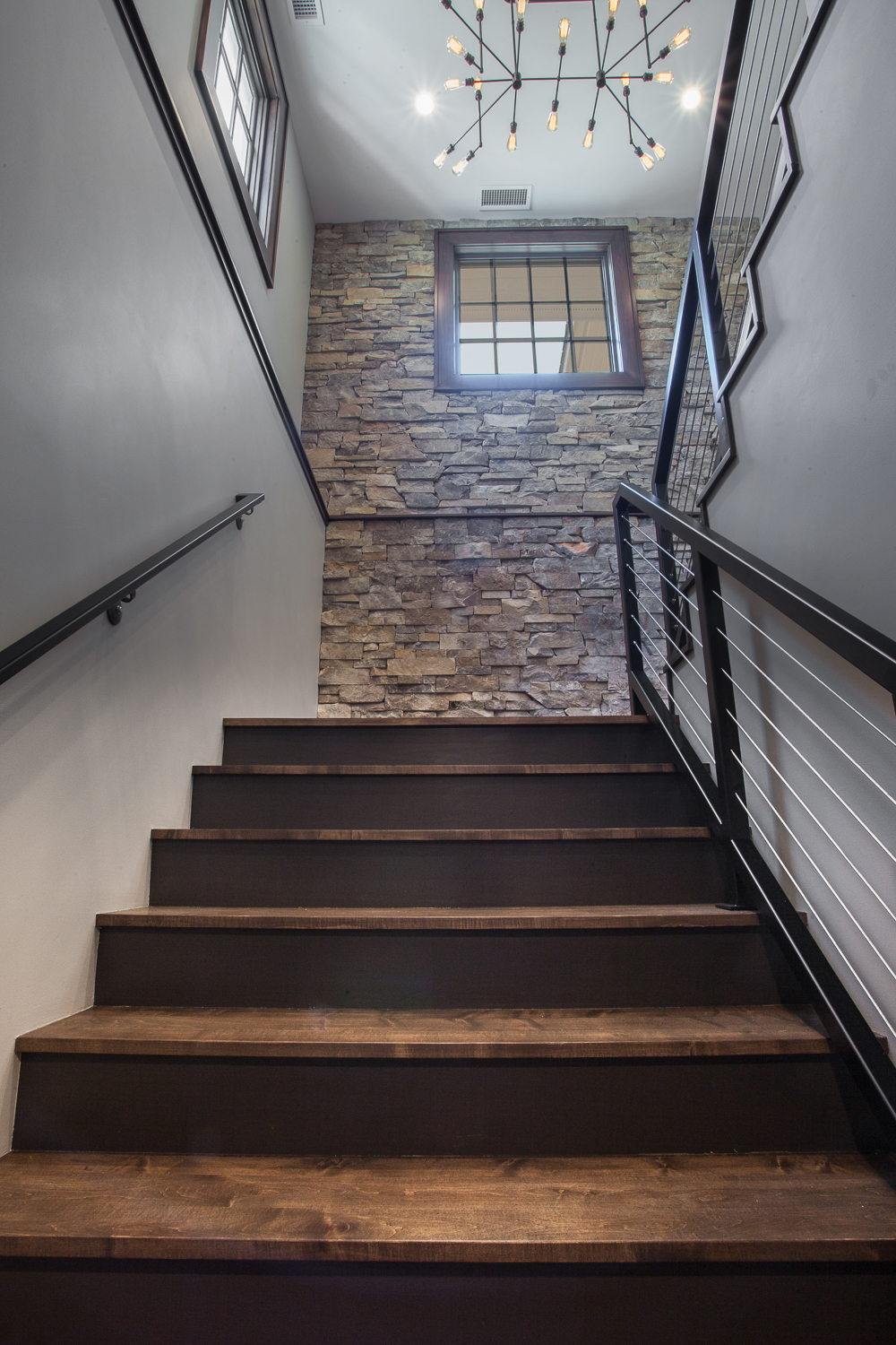 Stone Wall Contemporary Stairs Wire Railing - Scott Christopher Homes, Sears Architects, Fuchsia Design