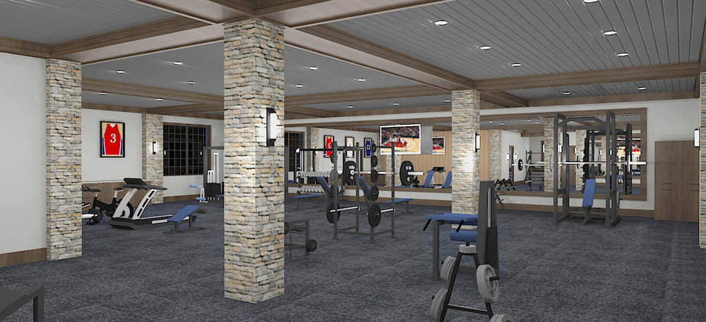 Initial Exercise Room Concept Rendering #1