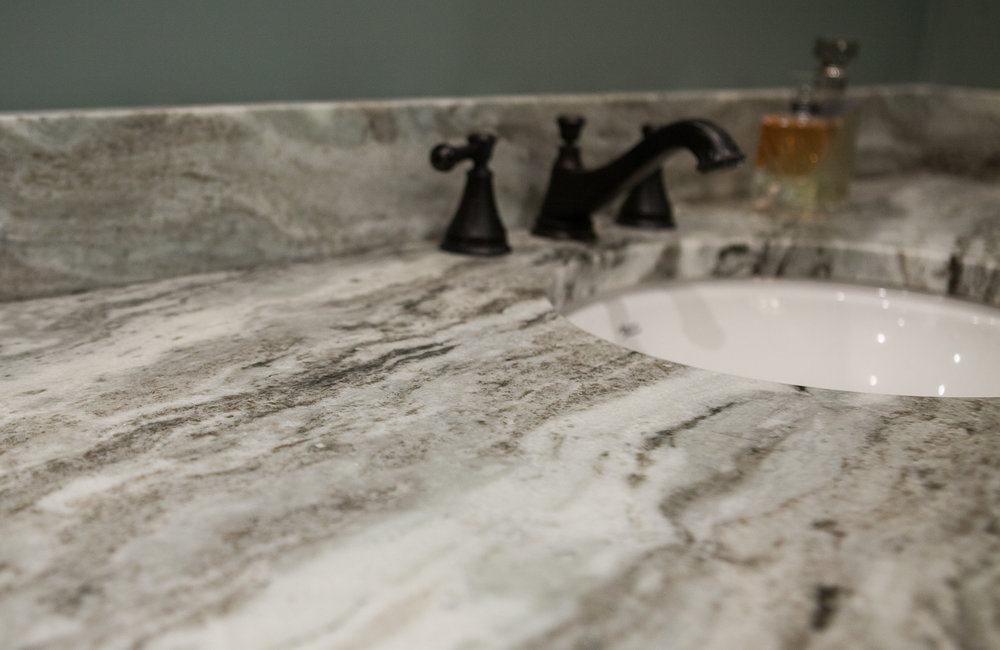 These quartzite countertops are to die for.