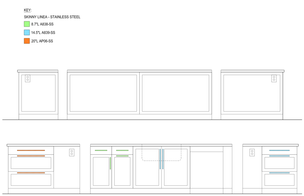 Fuchsia Design cabinet hardware diagram in Grand Rapids