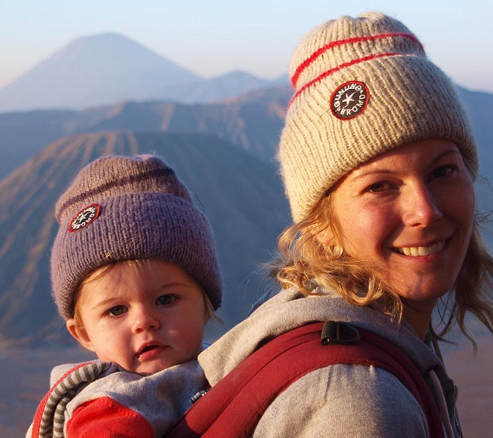 Susannah and alfie hanging out by Mount Bromo in Java, Indonesia .