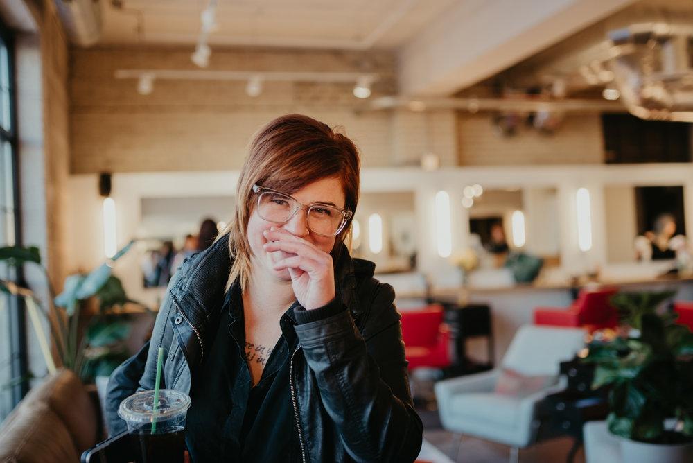 Katie Steller in her salon, steller hair company, minneapolis
