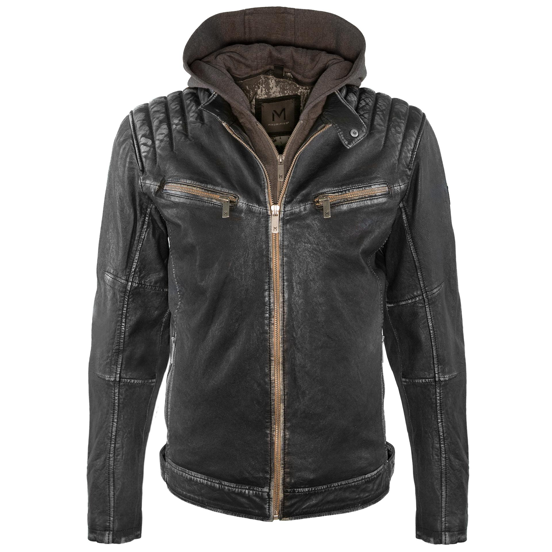 e9ca736dd MAURITIUS Men's Hooded Leather Jacket. Rio 2 sh. Fuji veg black 1.jpg