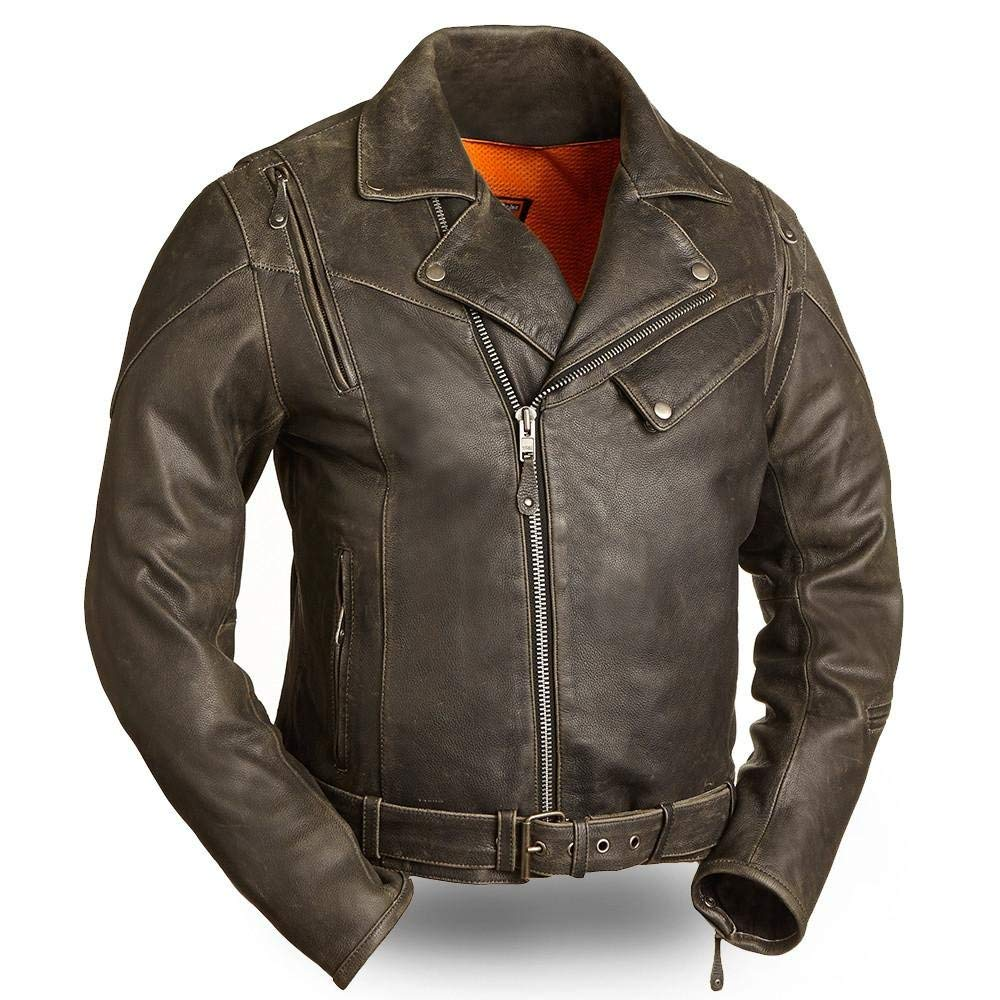 First Manufacturing 60 S New Yorker Men S Leather Motorcycle Jacket