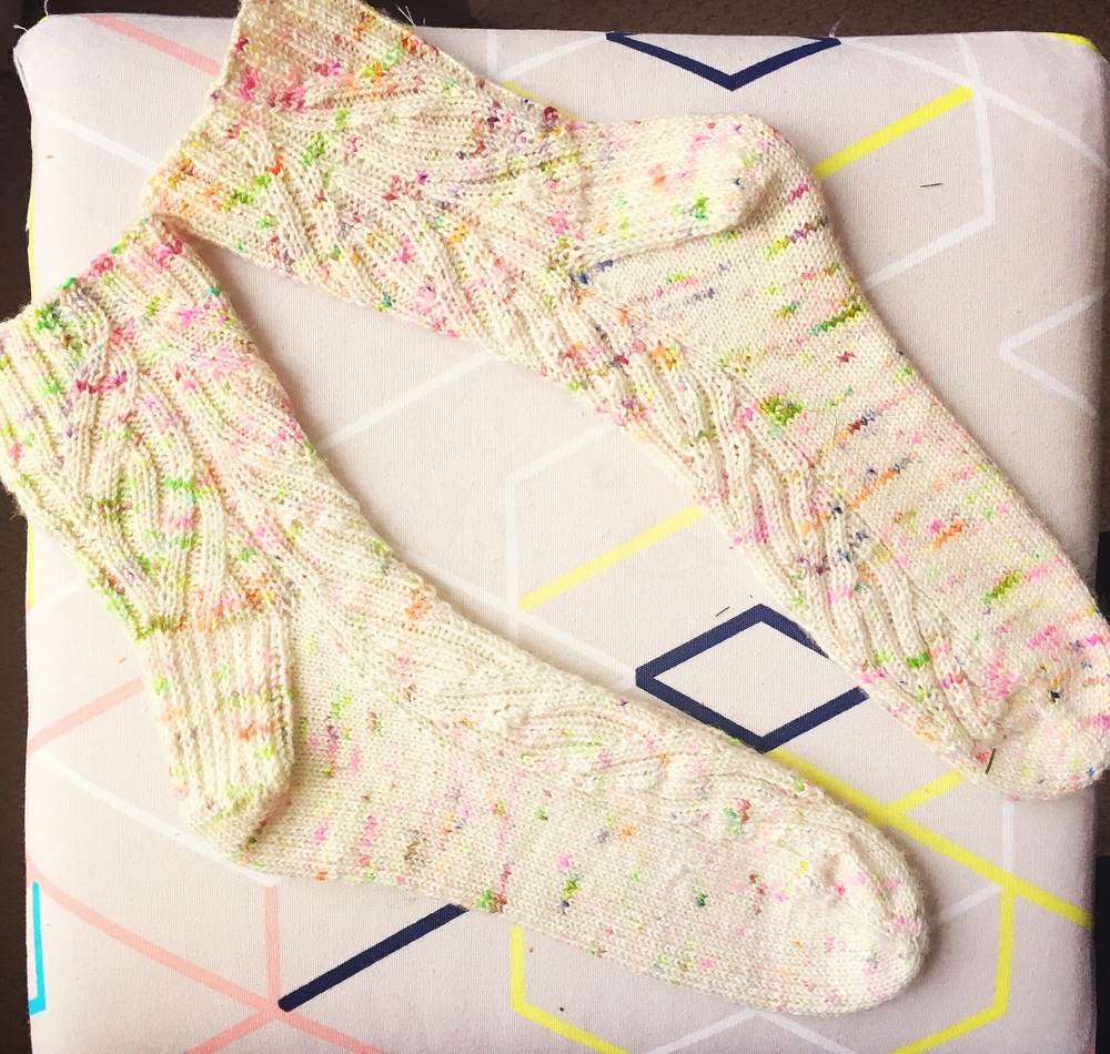 I couldn't quite capture the bright neons in the thread with my photos....take my word that these socks are bright!