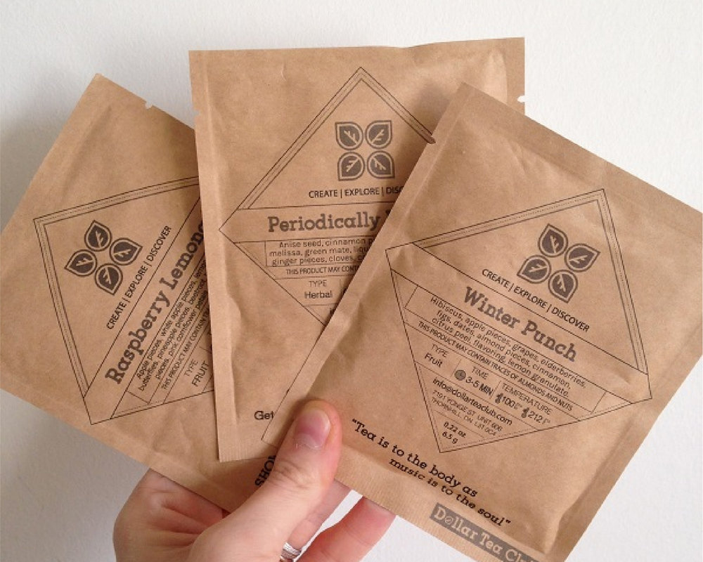 Branding material for Dollar Tea Club, a subscription service for high quality teas.