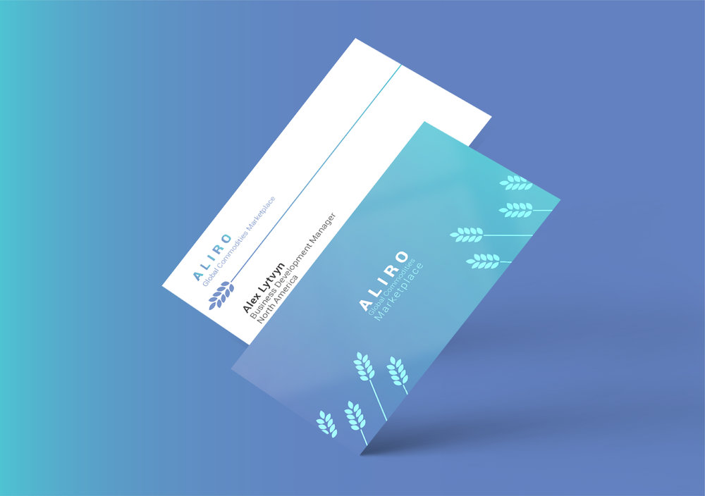 Business Cards for Aliro, a global commodities platform.