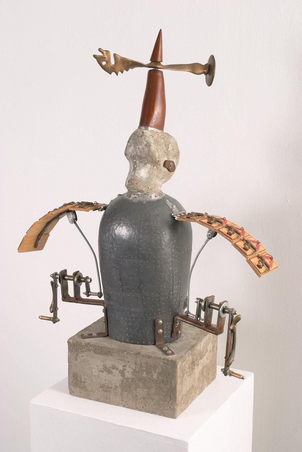 "7. Title:  The Myth of Talus   Media: Wood, cast bronze, lead, mousetraps, steel, and cast concrete  Dimensions: 33""h x 26""w x 12""d"