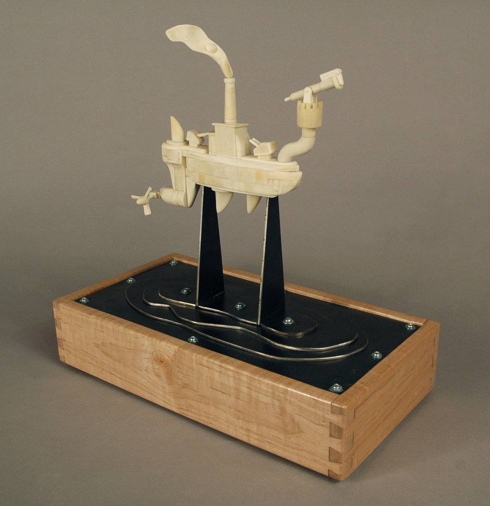 "3.         Title:  This All Goes Down Together               Media: Wood, steel, vegetable ivory,              bone, plastic              Dimensions: 13""h x 12""w x 8""d"