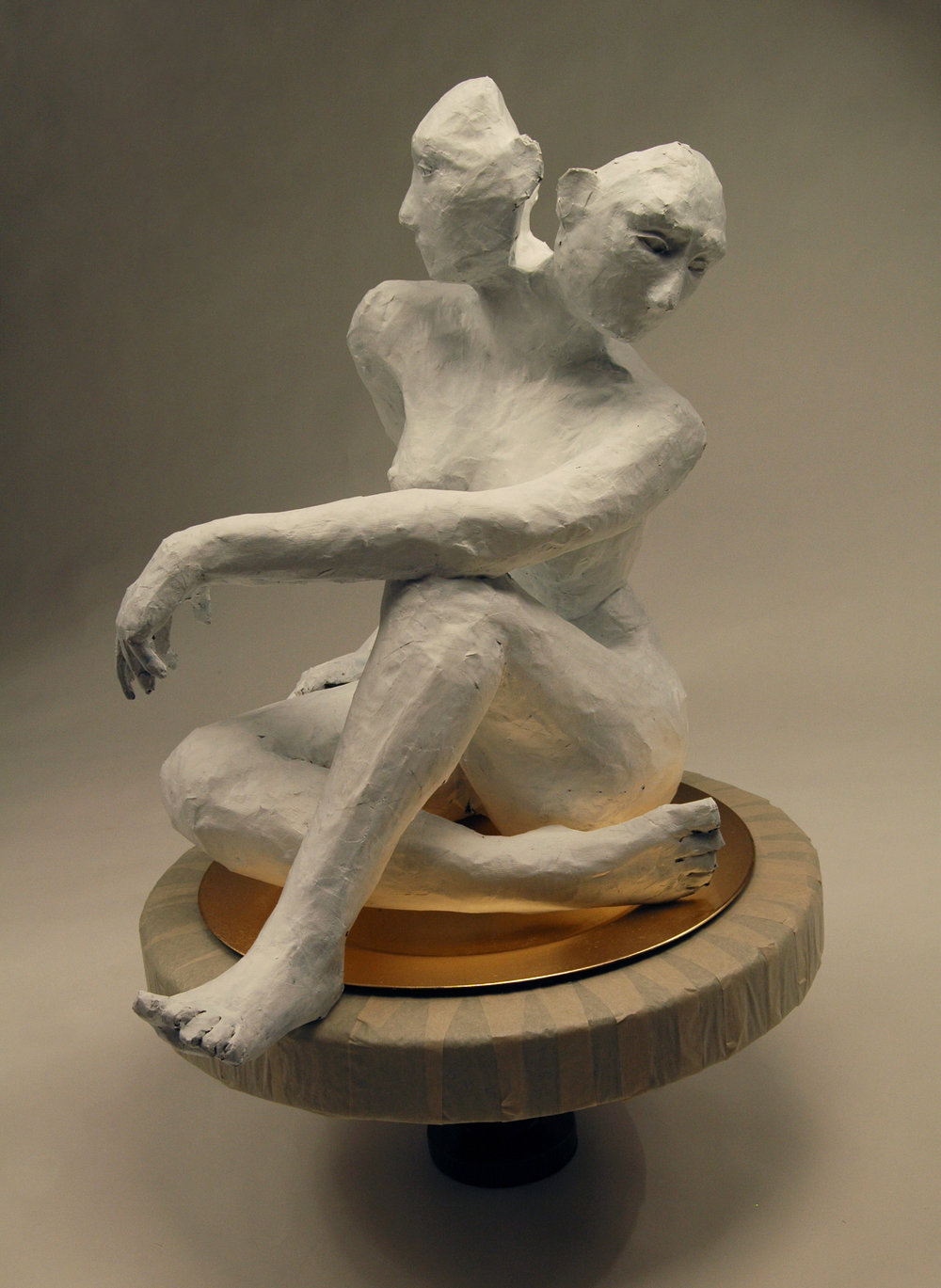 "4.         Assignment: Figure + Gesture              Media: wire, paper, tape, wood, found plate                         Dimensions: 29""h x 22""w x 17""d"